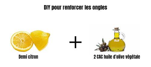 renforcer les ongles avec citron et huile d'olive